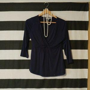 Boden Navy Blue Cross Front Jersey Cotton Blouse